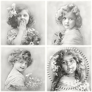 Sagen Vintage: Serviett - 4 Flower Girls