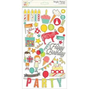 Simple Stories: Lets Party Chipboard Stickers, 6x12 inch