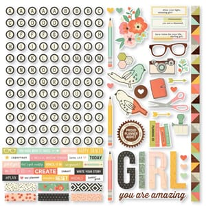 Simple Stories: The Reset Girl Combo Cardstock Stickers