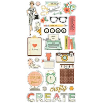 Simple Stories: The Reset Girl Chipboard Stickers, 6x12