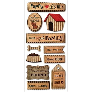 Multicraft: Puppy Love - Vintage Kraft Stickers