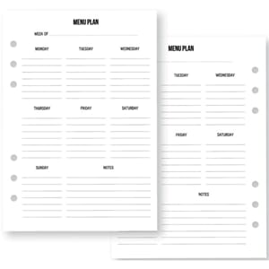 Carpe Diem Menu Double-Sided Inserts A5 36/Pkg