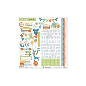Paper House: Blue Boy Hello Baby Cardstock Stickers, 12x12