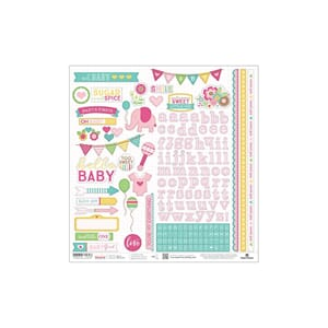Paper House: Pink Girl  Hello Baby Cardstock Stickers, 12x12
