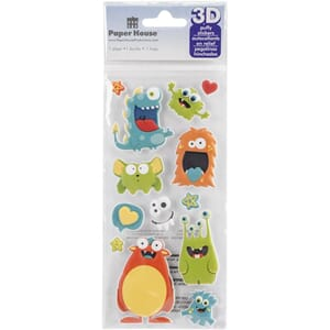Paper House: Monsters Puffy Stickers, 14/Pkg
