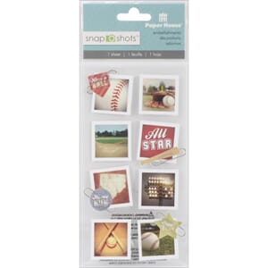 Paper House: Baseball - Snap Shots Sticker, 8/Pkg
