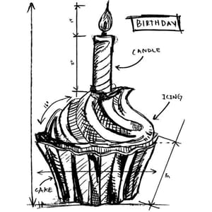 Tim Holtz: Birthday Sketch - Mounted Rubber Stamp