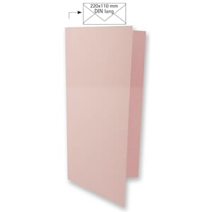 Doble kort DIN long - Baby Pink, 5 stk