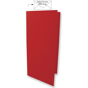 Doble kort DIN long - Cardinal Red, 5 stk