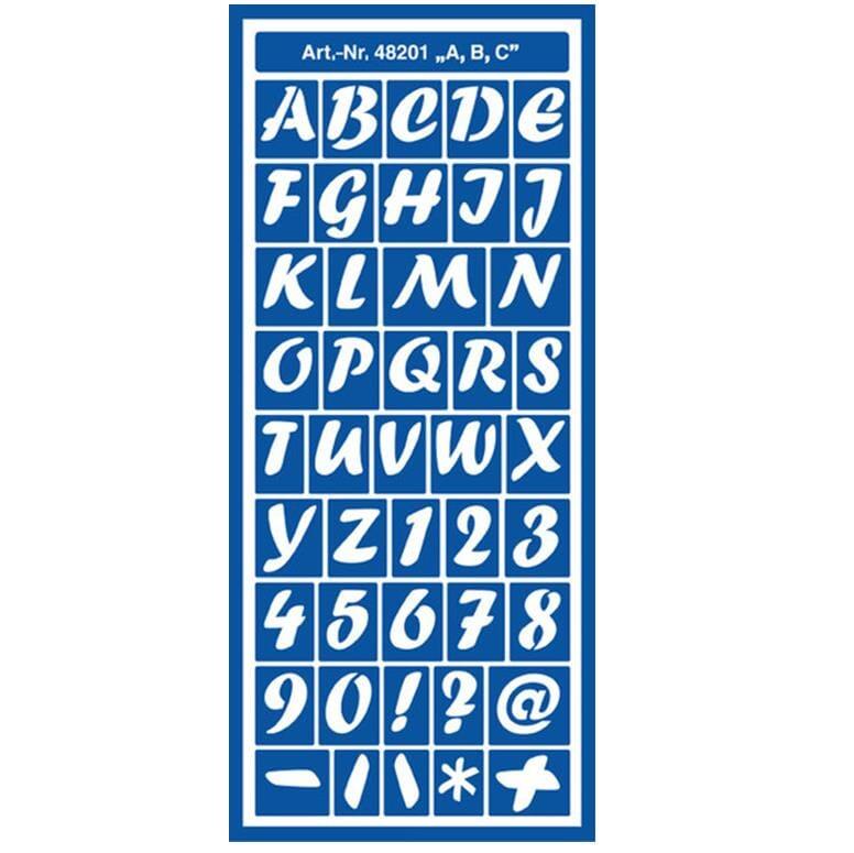 ... DESIGN: Stensil - Bokstaver, ark str. 12.5x28.5cm - HOBBYKUNST NORGE
