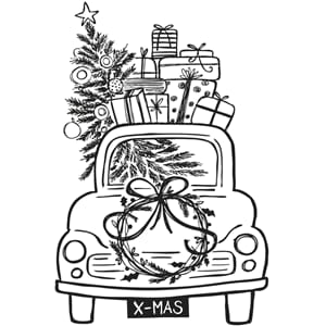 Stempel - Driving home for Christmas, montert