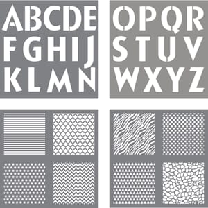 Stencil - Letters & Background design, 4/Pkg