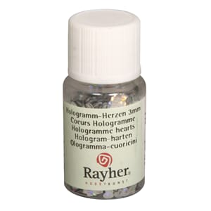 Mini paljetter - Hologramme silver hearts, bottle 10 ml