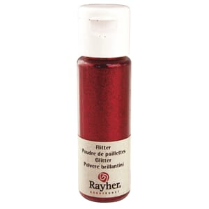 Glitter - Classic red, extra fine, PET, bottle 20 ml