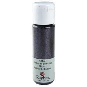Glitter - Steel grey, extra fine, PET, bottle 20 ml