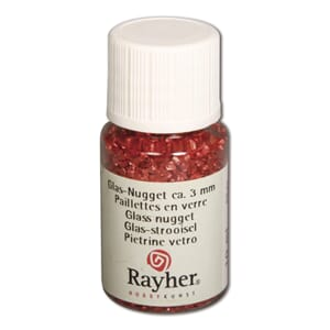 Glass nugget - Red, 3 mm, bottle 10 ml