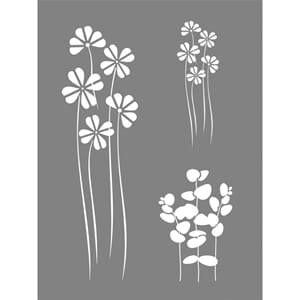 Stencil Flower mix motive, 15.3x20.3 cm, 1/Pkg