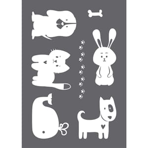 Stencil Happy Animals motive, A4, 1/Pkg
