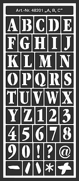 Bare ut HOME DESIGN: Stensil - Bokstaver, ark str. 12.5x28.5cm OS-28