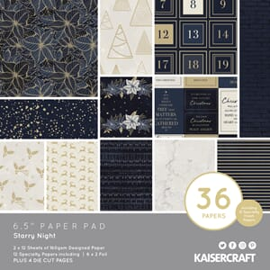Kaisercraft: Starry Night Paper Pad, 6.5x6.5, 36/Pkg