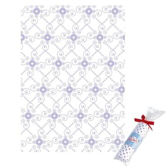 Tante Ema: Squiggled drops, lilac - stoffbit 50x65cm