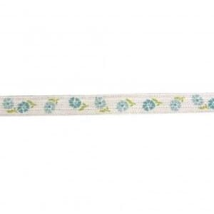 Bånd: Spring Flowers Cotton ribbon, turquoise