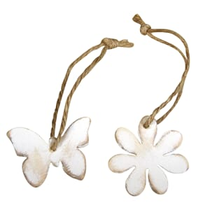 Wooden hanger flower and butterfly 2/Pkg