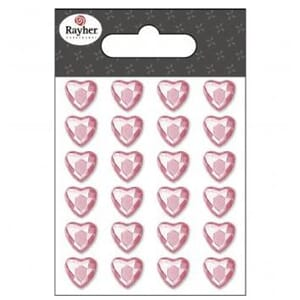 Bling - hjerter, pink, 10 mm