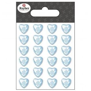 Bling - hjerter, light blue, 10 mm