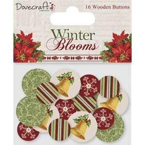 Dovecraft: Winter Blooms Wooden buttons, 16/Pkg