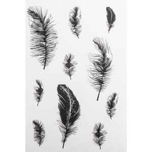 Stickers - Feathers clear stickers, 2 ark a 10 stk