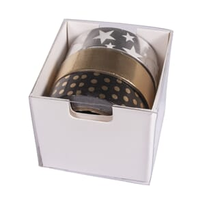 Washitape set - Black/Gold/Silver Foil, 15 mm x 10 m, 3 des