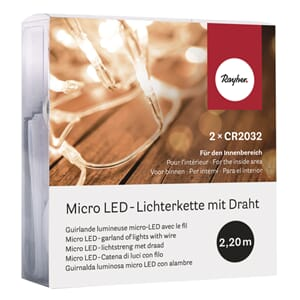 Micro LED-lights på wire, 220 cm, 20 Lichter
