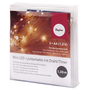 Mini LED-lights m/timer, lengde 120 cm