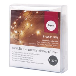 Mini LED-lights m/timer, lengde 220 cm