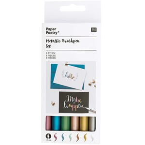 Metallic brushpen sett, 6 pk