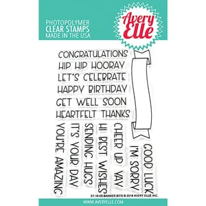 Avery Elle: Banner Bits Clear Stamp Set, 4x6 inch