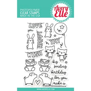 Avery Elle: Party Pals Clear Stamp Set, 4x6 inch