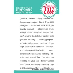 Avery Elle: Simple Sentiments Clear Stamp Set, 4x6 inch