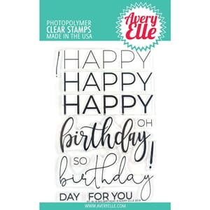 Avery Elle: Big Birthday - Clear Stamps, 4x6 inch