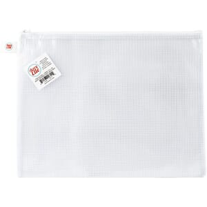 Avery Elle: White-Large Zippered Vinyl Mesh Pouch, 1/Pkg