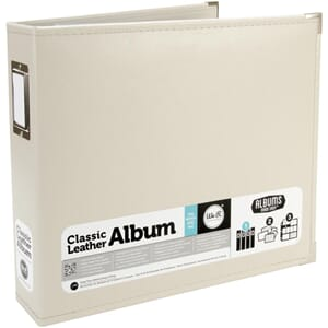 We R - Greige Classic Leather D-Ring Album, 12x12