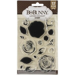 BoBunny: Layered Bouquet Clear Stamps, 17/Pkg