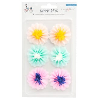 Maggie Holmes: Sunny Days Adhesive Paper Flowers, 6/Pkg