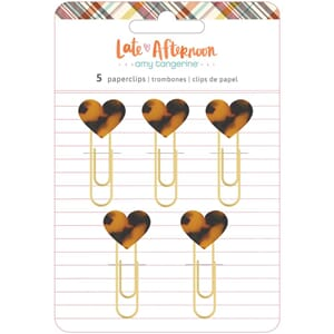 Amy Tan: Late Afternoon Heart Paper Clips, 5/Pkg