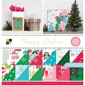 DCWV: Happy Wishes Cardstock Stack, 12x12, 32/Pkg