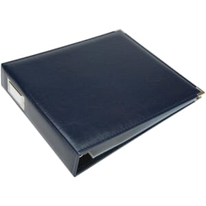 We R - Navy Classic Leather D-Ring Album, 12x12 inch