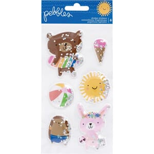 Pebbles: Sun & Fun Shaker Stickers 6/Pkg