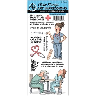 Art Impressions: Proud Nurse Work & Play Clear Stamp Set