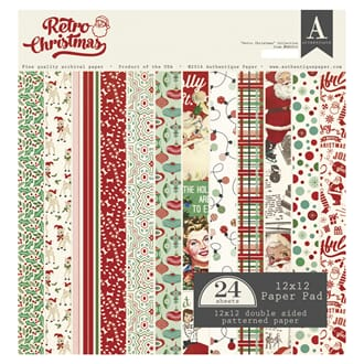 Authentique: Retro Christmas Cardstock Pad, 12x12, 24/Pkg